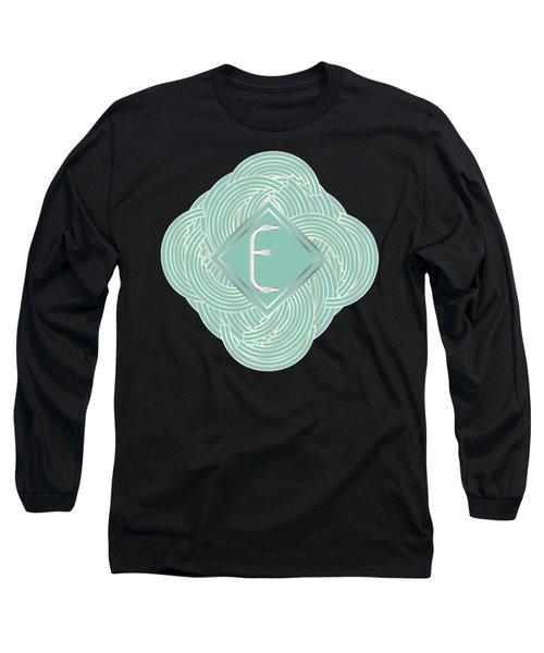 1920s Blue Deco Jazz Swing Monogram ...letter E Long Sleeve T-Shirt