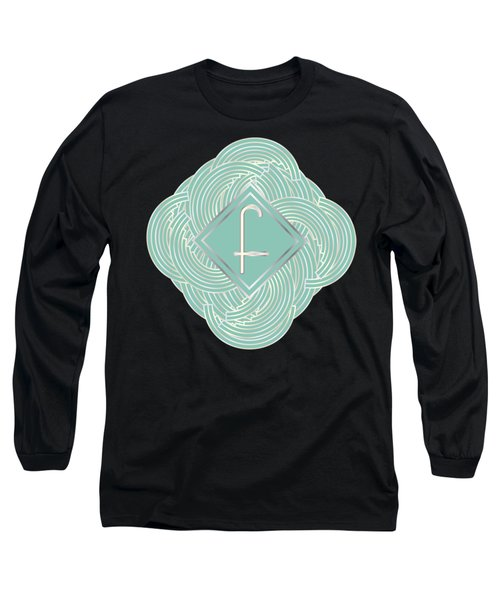 1920s Blue Deco Jazz Swing Monogram ...letter F Long Sleeve T-Shirt