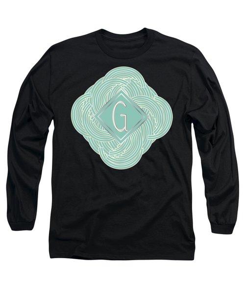 1920s Blue Deco Jazz Swing Monogram ...letter G Long Sleeve T-Shirt