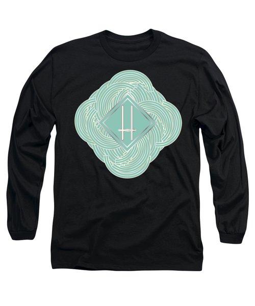 1920s Blue Deco Jazz Swing Monogram ...letter H Long Sleeve T-Shirt