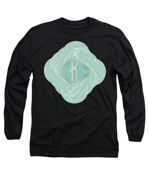 1920s Blue Deco Jazz Swing Monogram ...letter K Long Sleeve T-Shirt by Cecely Bloom
