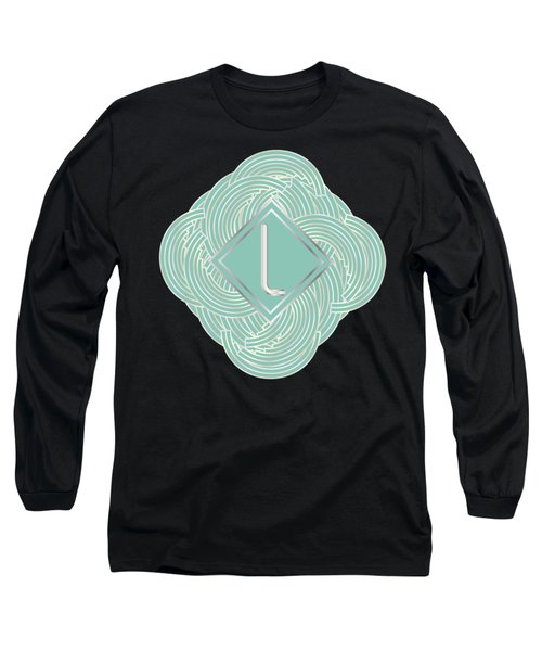 1920s Blue Deco Jazz Swing Monogram ...letter L Long Sleeve T-Shirt by Cecely Bloom