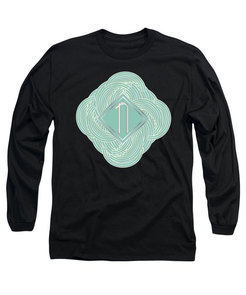 1920s Blue Deco Jazz Swing Monogram ...letter N Long Sleeve T-Shirt by Cecely Bloom