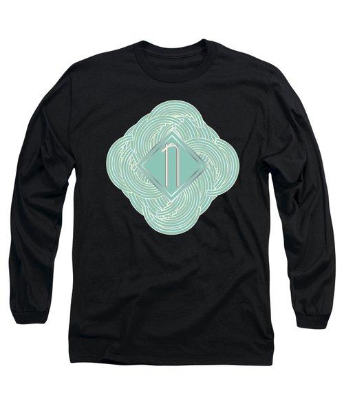 1920s Blue Deco Jazz Swing Monogram ...letter N Long Sleeve T-Shirt