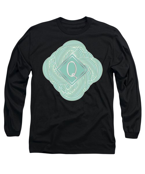 1920s Blue Deco Jazz Swing Monogram ...letter Q Long Sleeve T-Shirt