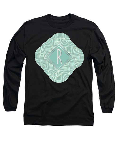 1920s Blue Deco Jazz Swing Monogram ...letter R Long Sleeve T-Shirt by Cecely Bloom