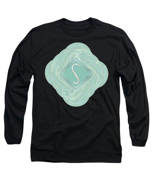 1920s Blue Deco Jazz Swing Monogram ...letter S Long Sleeve T-Shirt
