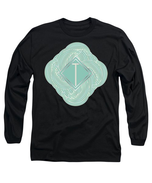 1920s Blue Deco Jazz Swing Monogram ...letter T Long Sleeve T-Shirt by Cecely Bloom