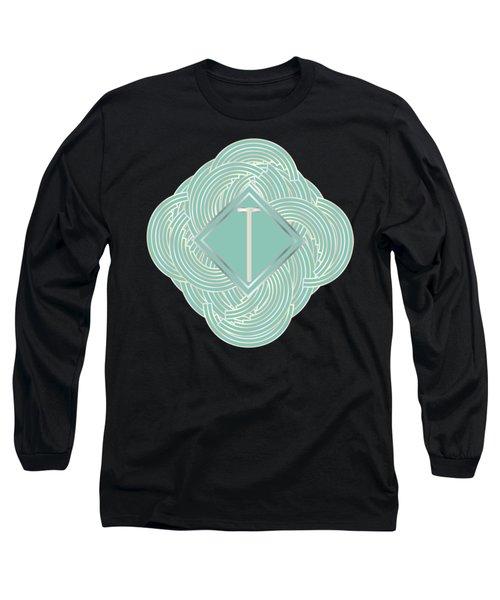1920s Blue Deco Jazz Swing Monogram ...letter T Long Sleeve T-Shirt