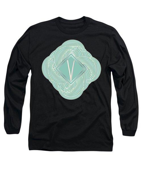1920s Blue Deco Jazz Swing Monogram ...letter V Long Sleeve T-Shirt