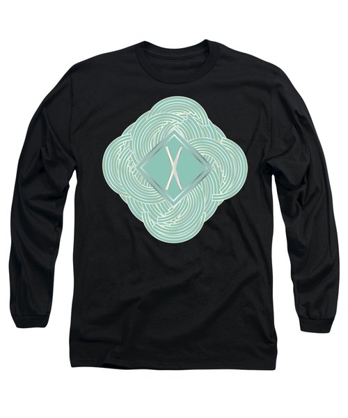 1920s Blue Deco Jazz Swing Monogram ...letter X Long Sleeve T-Shirt by Cecely Bloom