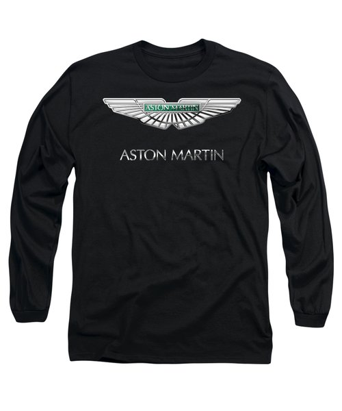 Aston Martin 3 D Badge On Black  Long Sleeve T-Shirt by Serge Averbukh