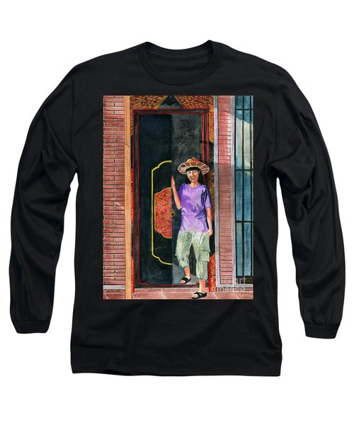 Long Sleeve T-Shirt featuring the painting At Puri Kelapa by Melly Terpening