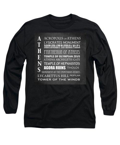 Athens Famous Landmarks Long Sleeve T-Shirt