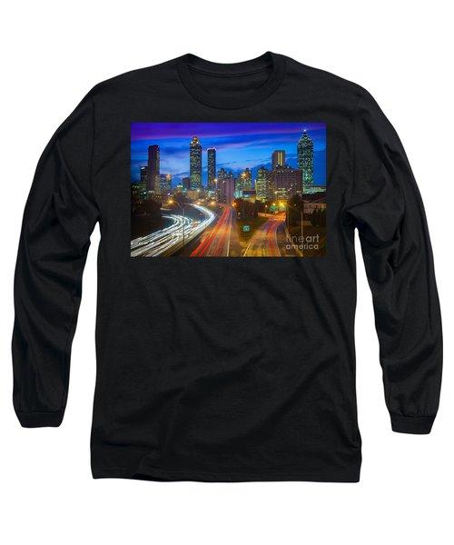 Atlanta Downtown By Night Long Sleeve T-Shirt