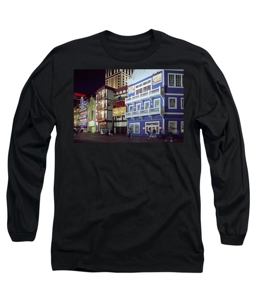 Long Sleeve T-Shirt featuring the photograph Atlantic City Boardwalk At Night by Sally Weigand