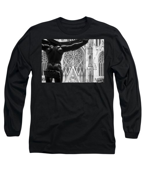 Atlas And St. Patrick's Cathedral Long Sleeve T-Shirt by Michael Dorn