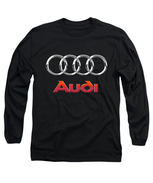 Audi 3 D Badge On Black Long Sleeve T-Shirt by Serge Averbukh