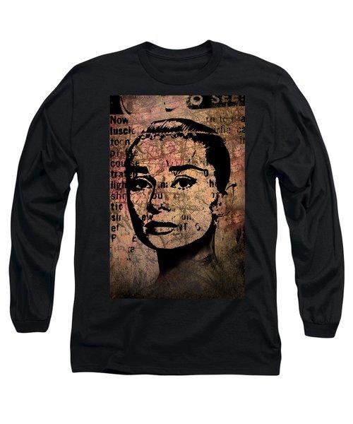 Long Sleeve T-Shirt featuring the mixed media Audrey Hepburn #7 by Kim Gauge