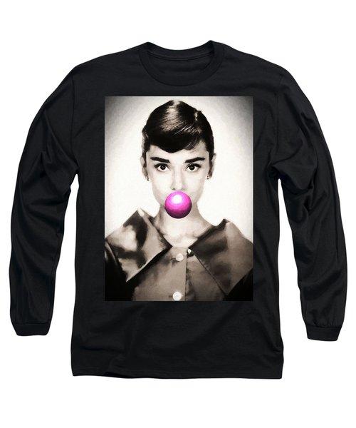 Audrey Hepburn Bubblegum Long Sleeve T-Shirt