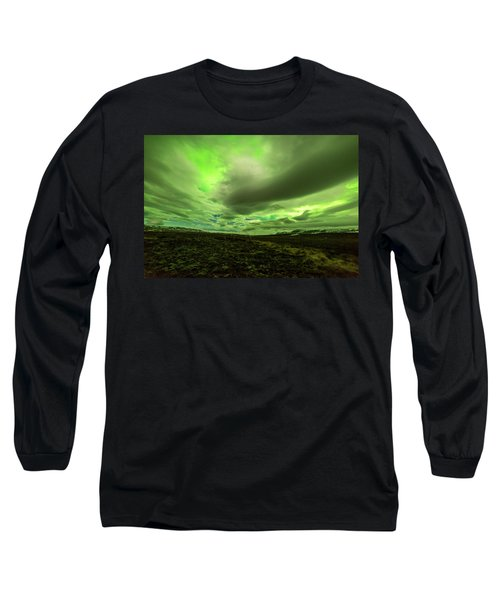 Aurora Borealis Over A Frozen Lake Long Sleeve T-Shirt