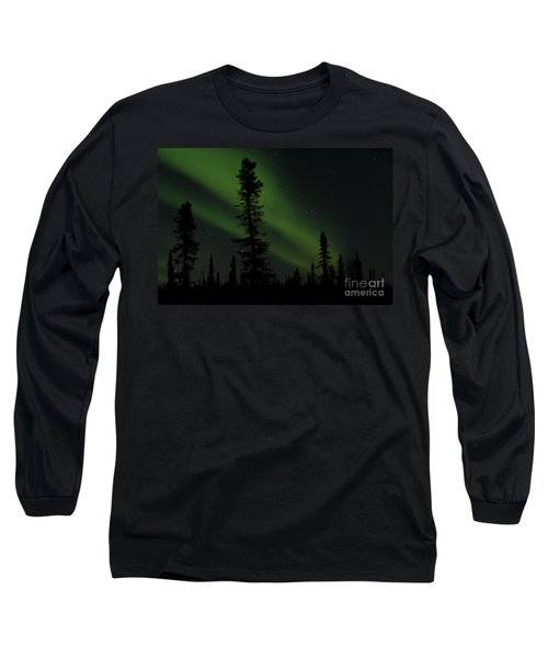 Aurora Borealis The Northern Lights Interior Alaska Long Sleeve T-Shirt by Sharon Mau
