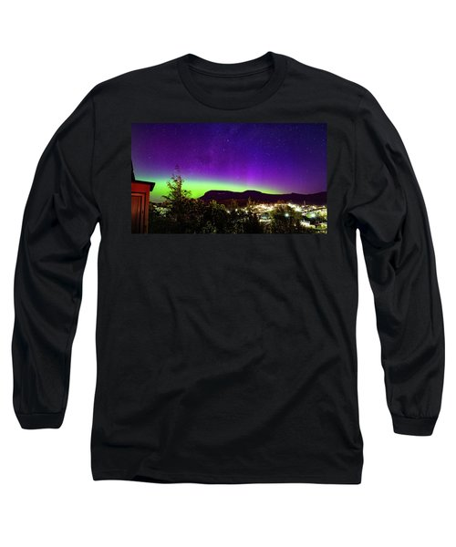 Long Sleeve T-Shirt featuring the photograph Aurora Over Mt Wellington, Hobart by Odille Esmonde-Morgan