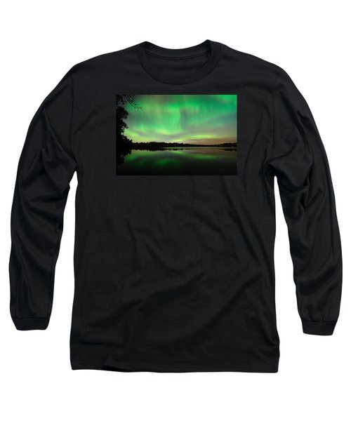 Aurora Over Tofte Lake Long Sleeve T-Shirt by Larry Ricker