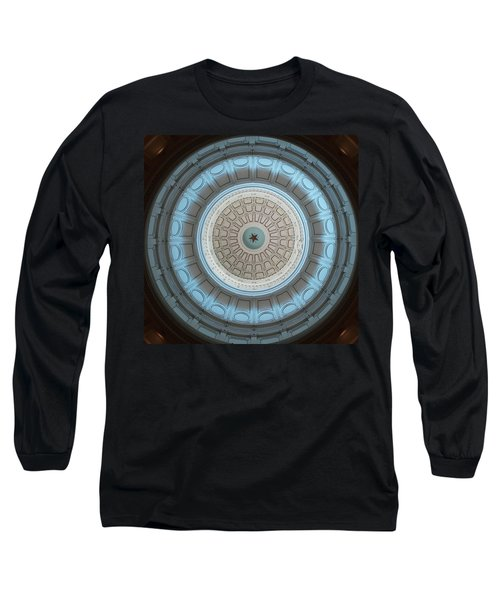 Austin Capitol Dome In Gray And Blue Long Sleeve T-Shirt