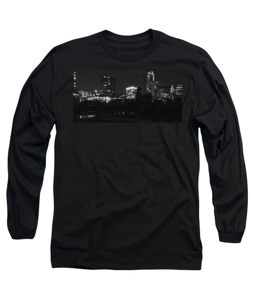 Austin Hike And Bike Trail - Srv Gritty Austin Night Panorama Long Sleeve T-Shirt