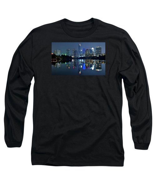 Austin Night Reflection Long Sleeve T-Shirt by Frozen in Time Fine Art Photography