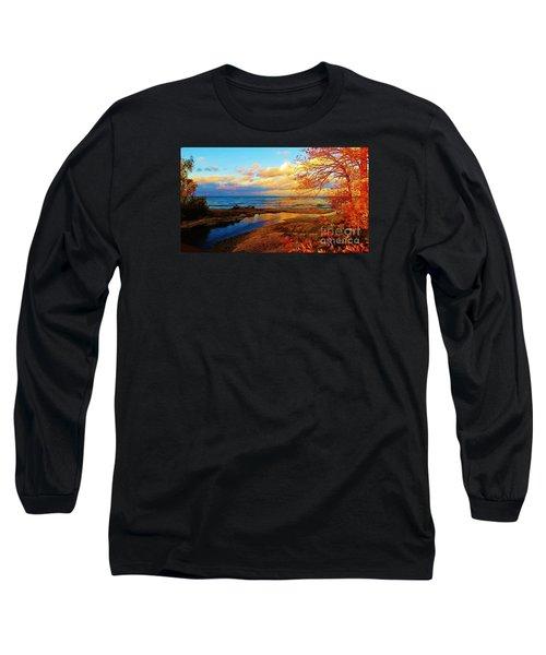 Autumn Beauty Lake Ontario Ny Long Sleeve T-Shirt by Judy Via-Wolff