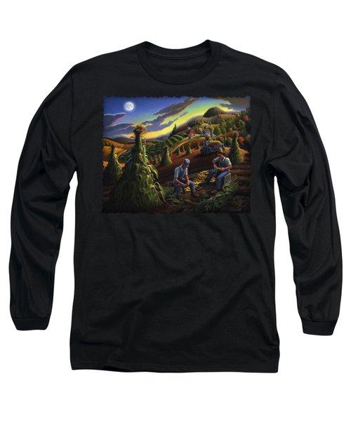 Autumn Farmers Shucking Corn Appalachian Rural Farm Country Harvesting Landscape - Harvest Folk Art Long Sleeve T-Shirt by Walt Curlee