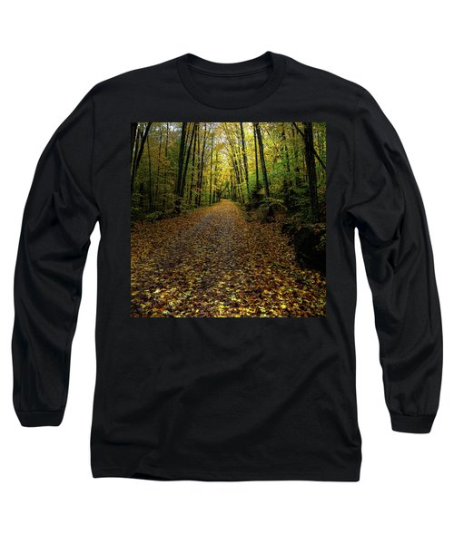 Long Sleeve T-Shirt featuring the photograph Autumn Leaves On The Trail by David Patterson