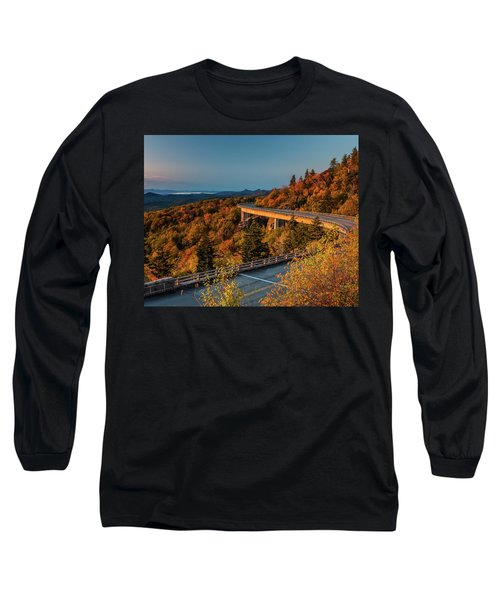 Morning Sun Light - Autumn Linn Cove Viaduct Fall Foliage Long Sleeve T-Shirt