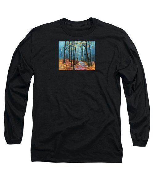 Long Sleeve T-Shirt featuring the painting Autumn Path by Terry Webb Harshman