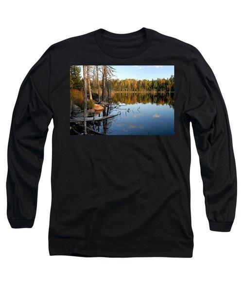 Autumn Reflections On Little Bass Lake Long Sleeve T-Shirt by Larry Ricker