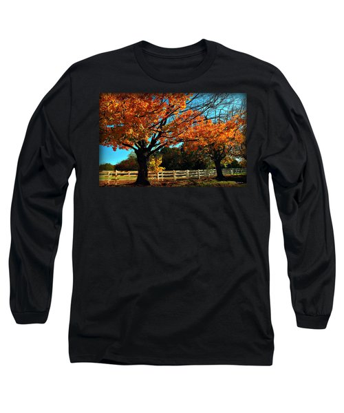 Long Sleeve T-Shirt featuring the photograph Autumn Rows by Joan  Minchak