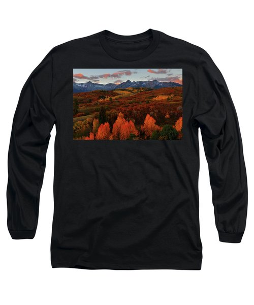 Autumn Sunrise At Dallas Divide In Colorado Long Sleeve T-Shirt by Jetson Nguyen