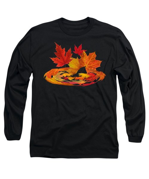 Autumn Winds - Colorful Leaves On Black Long Sleeve T-Shirt