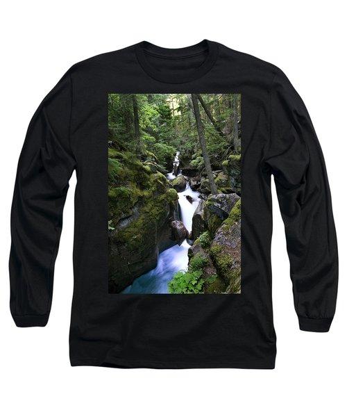 Avalanche Gorge Glacier National Park Long Sleeve T-Shirt
