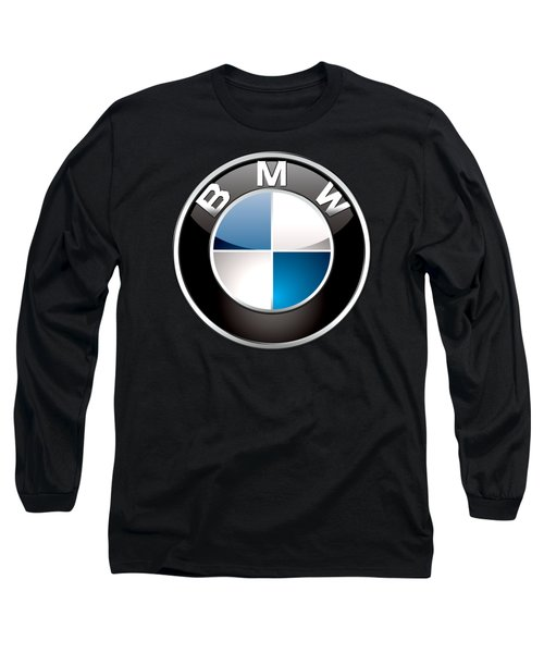 B M W  3 D Badge On Black Long Sleeve T-Shirt by Serge Averbukh