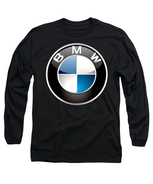 B M W  3 D Badge On Black Long Sleeve T-Shirt