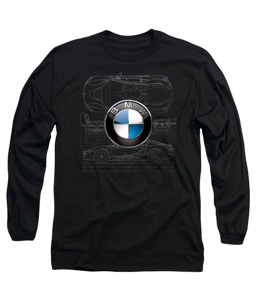 B M W  3 D  Badge Over B M W I8 Silver Blueprint On Black Special Edition Long Sleeve T-Shirt
