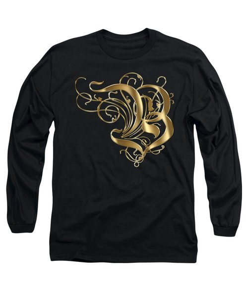 B Ornamental Letter Gold Typography Long Sleeve T-Shirt by Georgeta Blanaru