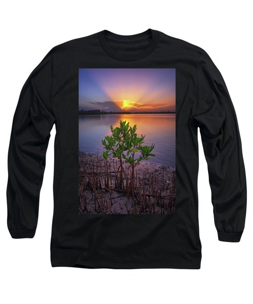 Baby Mangrove Sunset At Indian River State Park Long Sleeve T-Shirt by Justin Kelefas
