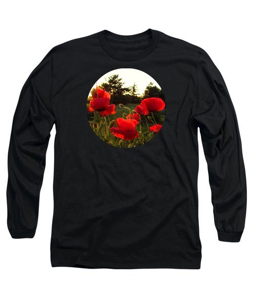 Backlit Red Poppies Long Sleeve T-Shirt by Mary Wolf