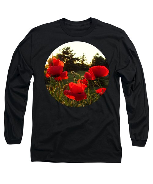 Backlit Red Poppies Long Sleeve T-Shirt
