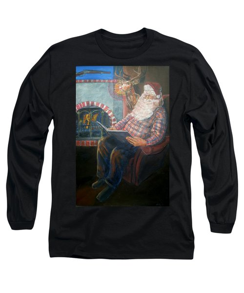 Long Sleeve T-Shirt featuring the painting Bad Rudolph by Bryan Bustard
