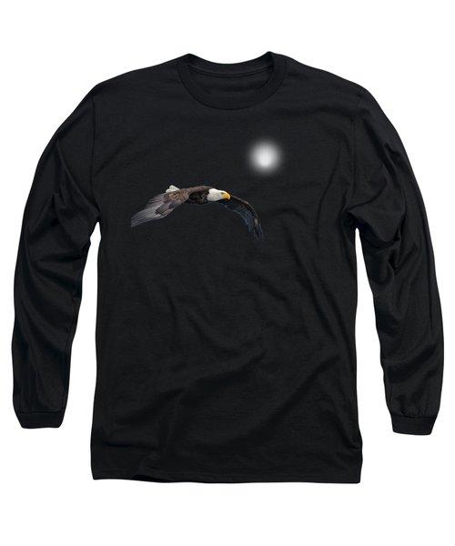 Bald Eagle Textured Art Long Sleeve T-Shirt by David Dehner